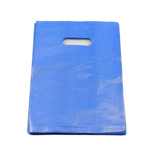 100 x Small Blue Punch Out Handle Gift Fashion Party Market Plastic Carrier Bags 7.25