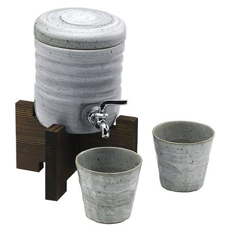 ファミリーサーバー 西庵窯 161-107 青磁刷毛木台グラス付