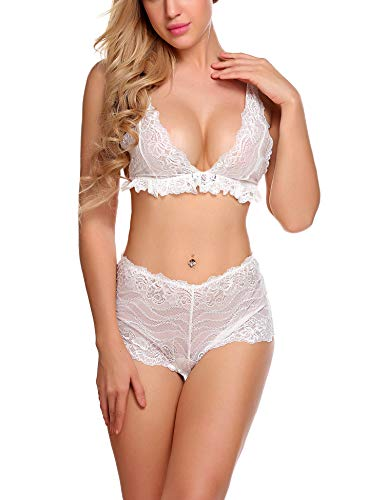 Avidlove Women Sexy Lingerie 2 Piece Bra and Panty Set Babydoll Mini Bodysuit White M