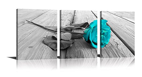 YPY Rose Wall Art for Bedroom Teal Floral Flower Black White Oil Painting Printed on Canvas Artwork Pictures Ready to Hang (Blue, 12x16in) (Teal Wall Ideas)