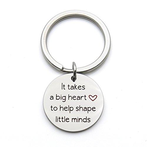 Teacher Keychain It Takes a Big Heart to Help Shape Little Minds Teacher Appreciation Gift Stainless Steel Keychain Key Ring -