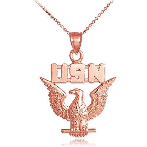 US Navy Eagle Solid 10k Rose Gold Pendant Necklace, ()
