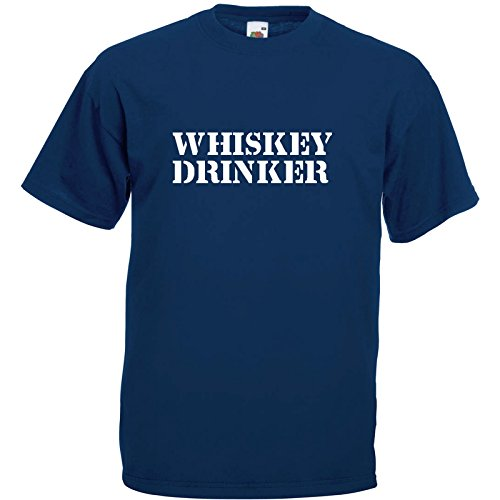 Whiskey Drinker Fun T-Shirt Navy Blau / Druck Weiß (XL)