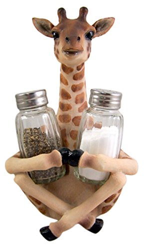 Giraffe Salt and Pepper Shaker Holder 8 1/4 Inch (Shakers Included) by Giraffe Kitchen Decor