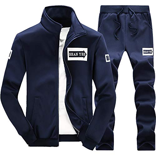 Inverlee-Mens Autumn Winter Thicken Sweatshirt Top Pants Sets Sports Suit Tracksuit