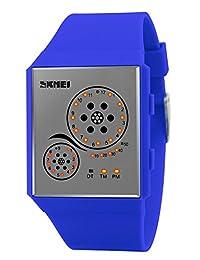 Mastop Unisex Watches Digital Sport Binary Led Watch Band 50M Waterproof Wristwatch (Blue)