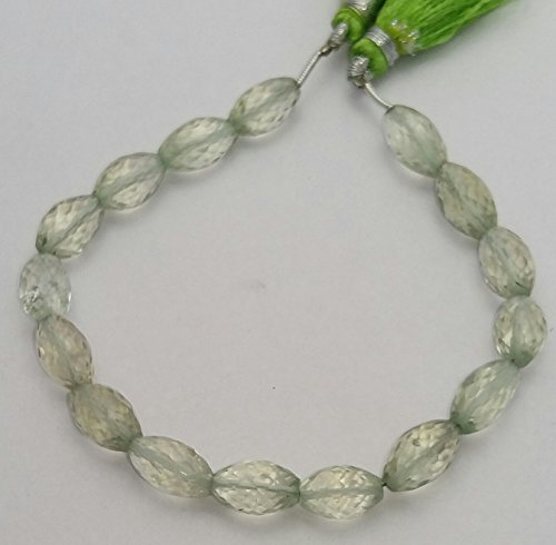 1 Strand Green Amethyst Faceted Beads Barrel beads 6X11 mm - 7X12 mm 8