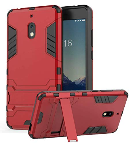 Nokia 2V Case, Nokia 2.1 Case, Bettop [Armor Series] TPU Heavy Duty Dual Layer Shockproof Silicone Protective Case, Hybrid Full-Body Protective Case with Kickstand for Nokia 2V, Nokia 2.1 (Red)