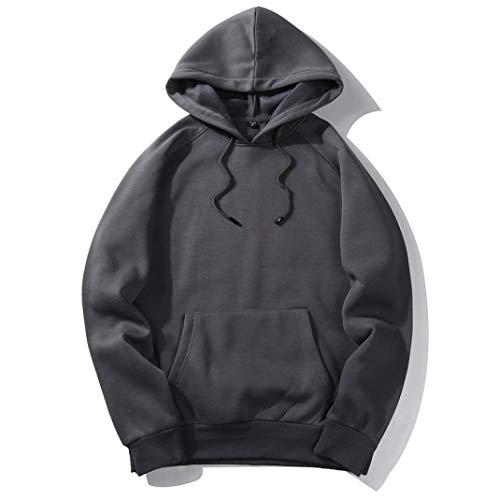 Auwer Autumn Fashion Color Hooides Men's Thick Clothes Sweatshirts Men Hip Hop Streetwear Fleece Pullover Hoodie Man Clothing (S, Dark Gray)