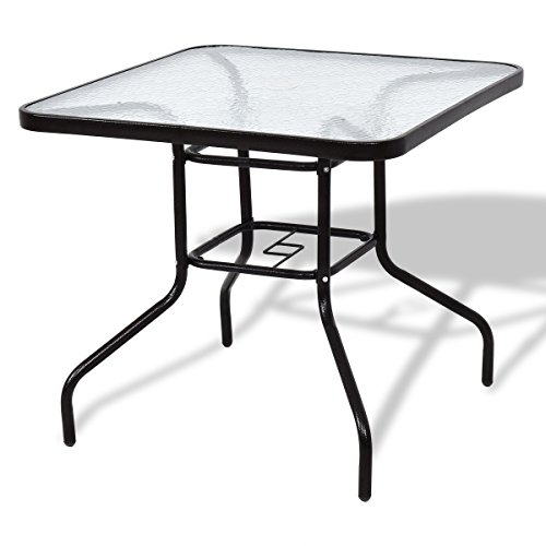 Patio Steel Frame Square Dining Table Tempered Glass With Ebook by oldzon