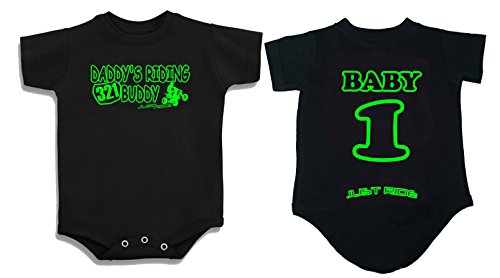 (JUST RIDE Daddy's Riding Buddy ATV Quad One Piece Creeper Personalized (6 Month, Lime) )