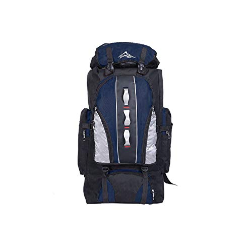 100L Nylon Outdoor Wateroof Hiking Big Travel Bags Unisex Sports Bag Multifunctional Camping Backpack,Deep Blue