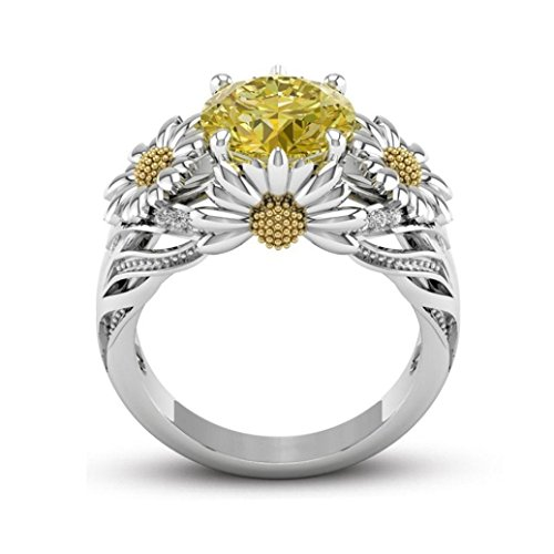 BEUU European And American Fashion Sunflower Diamond Ring Bridal Stud Mens Diamond Sterling Crystal Stud Engagement Goldplated White Gifts Set (8)