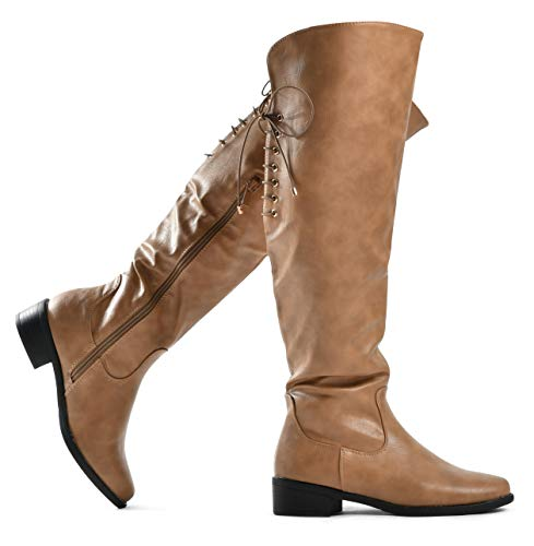 LUSTHAVE Women's Knee High Flat Boots Lace Up Cushioned Lining Drawstring Tall Western Riding Boots Khaki 8
