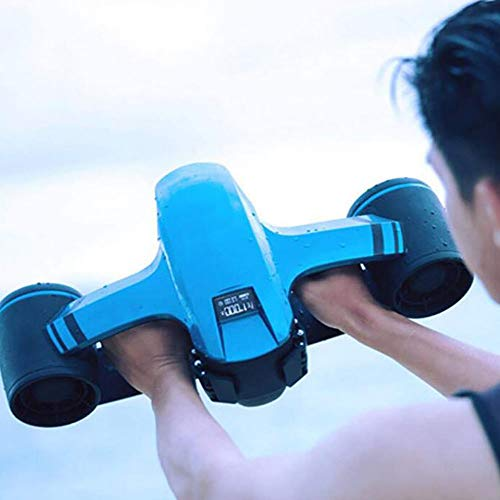 FXQIN Underwater Scooter, Swimming Booster Diving Device Accelerator, Deep Water 40 m, 2 Speed Settings, for Shallow Dives,Snorkeling Adventures Or Chasing Fish (Blue)