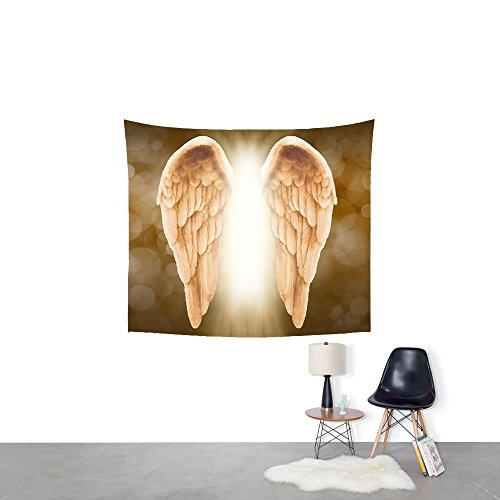 Golden Angel Wings background Tapestry Headboard Wall Art Bedspread Dorm Tapestry,Tapestry Wall Hanging Indian Wall Art (M-130150cm/51