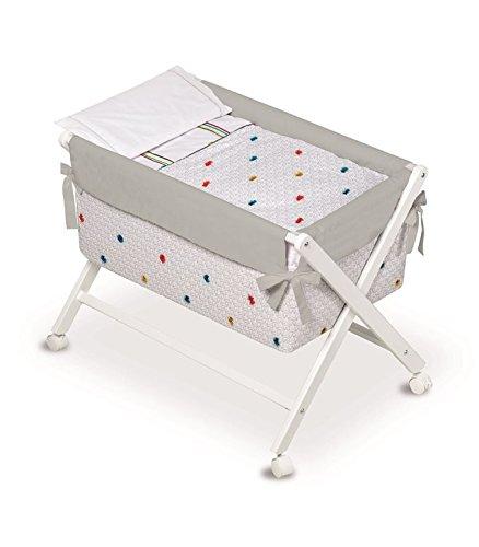 Kinder 28040701–minicuna, Motiv Plumeti, 68x 90x 71cm, Farbe: weiß