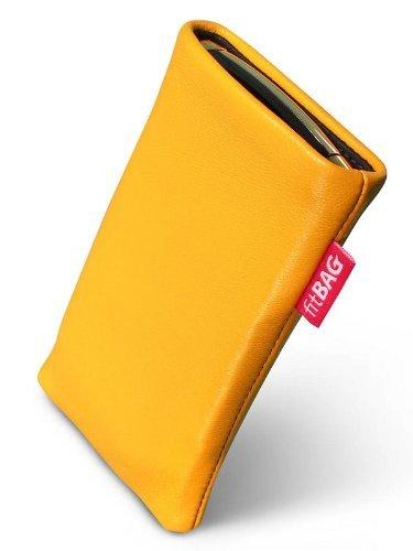 fitBAG Beat Zitronengelb Handytasche Tasche aus Echtleder Nappa mit Microfaserinnenfutter für APPLE iPhone 3Gs 16GB 16 GB