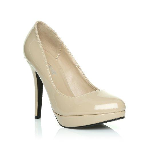 EVE Nude Patent PU Leather Stiletto High Heel Platform Court Shoes CRGMNXgkU