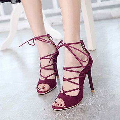 us7 Evening 5 Almond Party Casual Women's Stiletto uk5 Lace eu38 Sandals cn38 Other Hollow Summer red Black ligaosheng out up Spring PU amp; Heel Fall Dress Beige 5 zqxFFB0