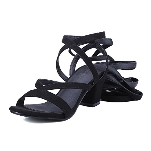 Sandals Heels Womens Black Heeled Suede Solid Tie Self 1TO9 MJS02791 Chunky S8qndIfIw