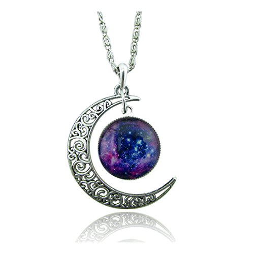 Hollow Crescent Moon Earth Galaxy Galactic Universe Glass Pendant Necklace Purple Blue Stars Sky