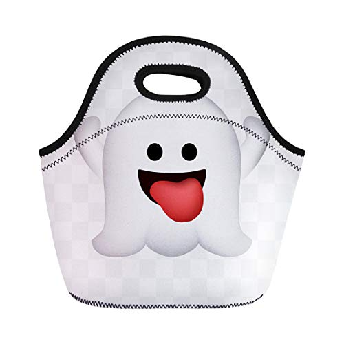 Semtomn Lunch Tote Bag Cute Ghost on Halloween Emoticon Abstract Black Cartoon Reusable Neoprene Insulated Thermal Outdoor Picnic Lunchbox for Men -