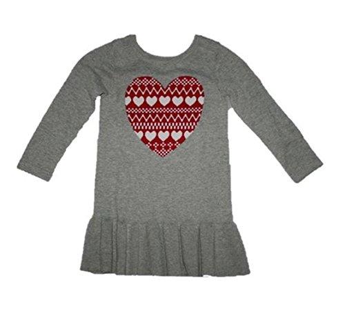 GAP Baby Girls L/S Heart Print Dress (3 Years) Heather Gray/Red/White 301714