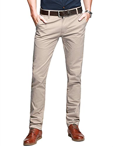Match Mens Slim-Tapered Flat-Front Casual Pants(34W x 31L,Apricot)