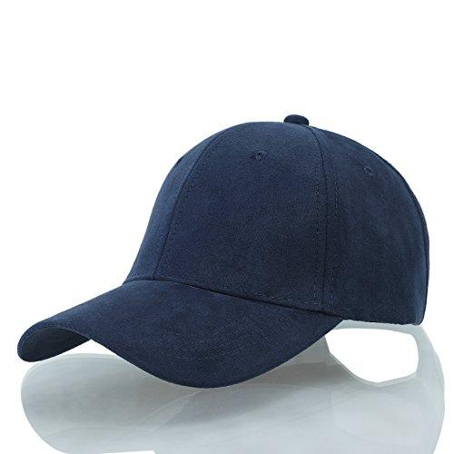 Kajeer Suede Blank Vintage Baseball Cap Trucker Cap Hat Navy Blue