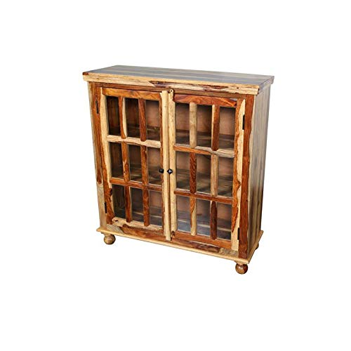 Hawthorne Collections Sante Fe Solid Sheesham Wood 18 Pane Glass Cabinet