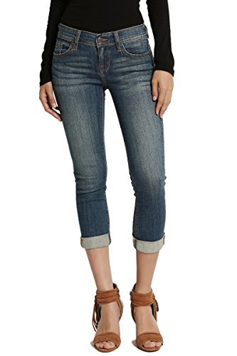 TheMogan Women's Stone Washed Low Rise Denim Capris Crop Skinny Jeans Dark 13 (Womens Stonewashed Jeans)