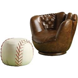 Crown Mark Baseball Glove Chair/Ottoman