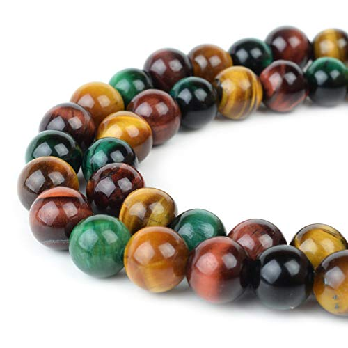 Gold Round Tiger Yellow (RVG 8mm Multi Tiger Eye Beads Round Gemstone Loose Stone Mala 15.5 in Strand for Jewelry Making (Approx 45-48 pcs))
