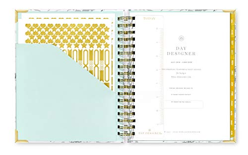 Day Designer 2019-2020 Daily Life Planner and Agenda, Hardcover, Twin-Wire Binding, 9'' x 9.75'', White Marble by Day Designer (Image #1)
