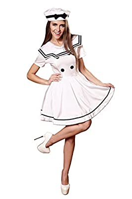 YiYiFS Women's Sailor Navy Cosplay Outfit Costume Nightclub Uniform Temptation on Halloween EU925