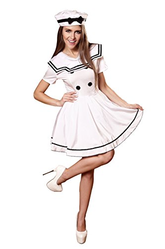 [YiYiFS Women's Sailor Navy Cosplay Outfit Costume Nightclub Uniform Temptation on Halloween EU925] (Halloween Outfits Ladies)