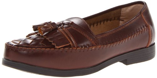Deer Stags Men's Herman Slip-On Loafer,Dark Maple,12 M US Brown Woven Leather Loafer