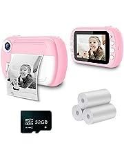 i-Paint P9 Instant Camera voor kinderen, B/N druk op thermopapier, camera 1080p HD-digitale camera, 3,5 inch LCD-display, 32 GB, roze