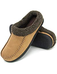 Men's Comfort Suede Fabric Memory Foam Fluffy Fleece Lined Slippers Non Skid House Shoes W/Wool-Like Collar