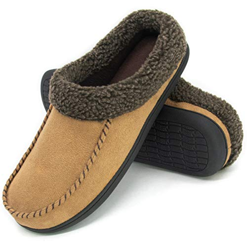ULTRAIDEAS Men's Cozy Memory Foam Moccasin Suede Slippers with Fuzzy Plush Wool-Like Lining, Slip on Mules Clogs House Shoes (Large / 11-12 D(M) US, Light Brown) (Suede Brown Clogs)