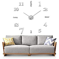 Sageme DIY Wall Clock, 3D Mirror Stickers Large Silent Wall Clock Home Office Decor Frameless Clock (Silver)