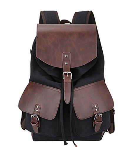 Hopeeye Black 3-unisex Casual Canvas Backpack Large Capacity Travel Vintage Brown Sale