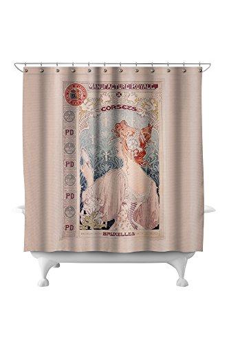 (Manufacture Royale de Corsets Vintage Poster (artist: Livemont) Netherlands c. 1897 (71x74 Polyester Shower)