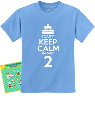 2nd Birthday Gift Can't Keep Calm I'm Two Birthday Cake 2 Year Old Kids T-Shirt Medium California Blue