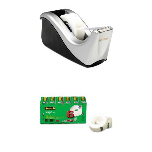 Scotch Desktop Tape Dispenser Silvertech, Two-Tone & Magic Tape, 3/4 x 1000 Inches, 6-Count Package
