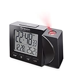 Oregon Scientific Travel Projection Atomic Clock with Indoor Temperature Calendar Alarm - Black