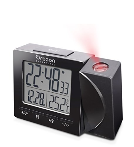 (Oregon Scientific Travel Projection Atomic Clock with Indoor Temperature Calendar Alarm - Black)