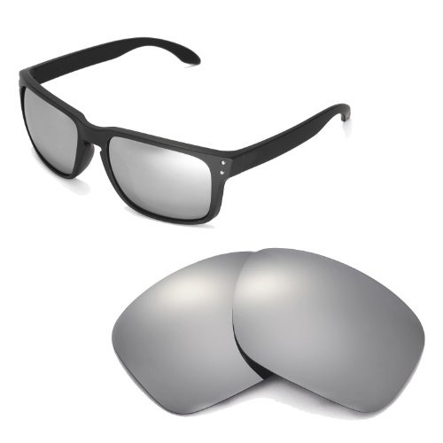 Walleva Replacement Lenses For Oakley Holbrook Sunglasse-Multiple Options (Titanium Mirror Coated - Polarized) (Fairbanks Replacement)