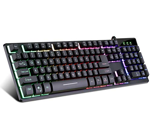 RGB Gaming Keyboard USB Wired Gaming Keyboard with Dedicated Media Controls, Multiple Color Rainbow LED Backlit, Spill-Resistant and Durable Design for Desktop, Laptop